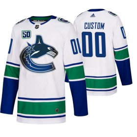 Wholesale Cheap Vancouver Canucks Custom 50th Anniversary Men\'s White 2019-20 Away Authentic NHL Jersey