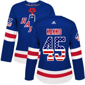 Wholesale Cheap Adidas Rangers #45 Kappo Kakko Royal Blue Home Authentic USA Flag Women\'s Stitched NHL Jersey