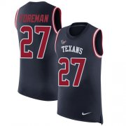 Wholesale Cheap Nike Texans #27 D'Onta Foreman Navy Blue Team Color Men's Stitched NFL Limited Rush Tank Top Jersey