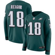 Wholesale Cheap Nike Eagles #18 Jalen Reagor Green Team Color Women's Stitched NFL Limited Therma Long Sleeve Jersey