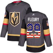 Wholesale Cheap Adidas Golden Knights #29 Marc-Andre Fleury Grey Home Authentic USA Flag Stitched Youth NHL Jersey