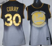 Wholesale Cheap Golden State Warriors #30 Stephen Curry Black/Gray Fadeaway Fashion Womens Jersey