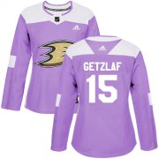 Wholesale Cheap Adidas Ducks #15 Ryan Getzlaf Purple Authentic Fights Cancer Women's Stitched NHL Jersey