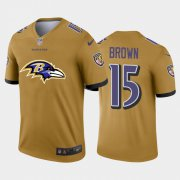 Wholesale Cheap Baltimore Ravens #15 Marquise Brown Gold Men's Nike Big Team Logo Vapor Limited NFL Jersey