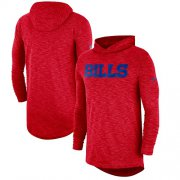Wholesale Cheap Men's Buffalo Bills Nike Red Sideline Slub Performance Hooded Long Sleeve T-Shirt