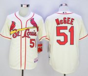 Wholesale Cheap Cardinals #51 Willie McGee Cream Cool Base Stitched MLB Jersey