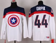 Wholesale Cheap Olympic Team USA #44 Brooks Orpik White Captain America Fashion Stitched NHL Jersey