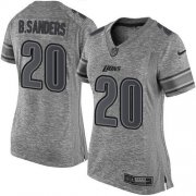 Wholesale Cheap Nike Lions #20 Barry Sanders Gray Women's Stitched NFL Limited Gridiron Gray Jersey