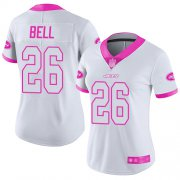 Wholesale Cheap Nike Jets #26 Le'Veon Bell White/Pink Women's Stitched NFL Limited Rush Fashion Jersey