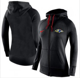 Wholesale Cheap Women\'s Nike Baltimore Ravens Full-Zip Performance Hoodie Black