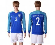 Wholesale Cheap Brazil #2 Dani Alves Away Long Sleeves Soccer Country Jersey