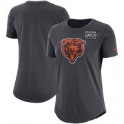 Wholesale Cheap NFL Women's Chicago Bears Nike Anthracite Crucial Catch Tri-Blend Performance T-Shirt