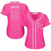 Wholesale Cheap Royals #12 Jorge Soler Pink Fashion Women's Stitched MLB Jersey