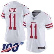 Wholesale Cheap Nike 49ers #11 Brandon Aiyuk White Women's Stitched NFL 100th Season Vapor Untouchable Limited Jersey