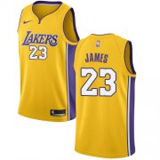 Wholesale Cheap Nike Los Angeles Lakers #23 LeBron James Gold NBA Swingman Icon Edition Jersey