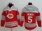 Wholesale Cheap Reds #5 Johnny Bench Red Sawyer Hooded Sweatshirt MLB Hoodie