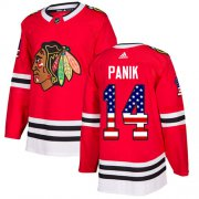 Wholesale Cheap Adidas Blackhawks #14 Richard Panik Red Home Authentic USA Flag Stitched Youth NHL Jersey
