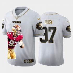 Cheap San Francisco 49ers #97 Nick Bosa Nike Team Hero 2 Vapor Limited NFL 100 Jersey White Golden