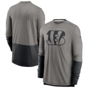 Wholesale Cheap Cincinnati Bengals Nike Sideline Player Performance Long Sleeve T-Shirt Heathered Gray Black