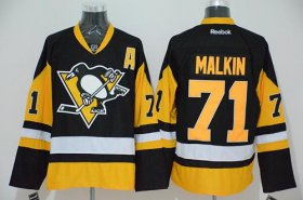 Wholesale Cheap Penguins #71 Evgeni Malkin Black Alternate Stitched NHL Jersey