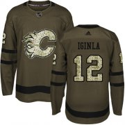 Wholesale Cheap Adidas Flames #12 Jarome Iginla Green Salute to Service Stitched Youth NHL Jersey