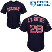 Wholesale Cheap Red Sox #28 J. D. Martinez Navy Blue Cool Base 2018 World Series Champions Stitched Youth MLB Jersey