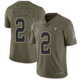 Wholesale Cheap Nike Saints #2 Jameis Winston Olive Youth Stitched NFL Limited 2017 Salute To Service Jersey
