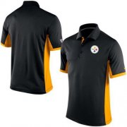 Wholesale Cheap Men's Nike NFL Pittsburgh Steelers Black Team Issue Performance Polo