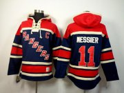 Wholesale Rangers #11 Mark Messier Navy Blue Sawyer Hooded Sweatshirt Stitched NHL Jersey