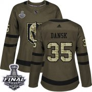 Wholesale Cheap Adidas Golden Knights #35 Oscar Dansk Green Salute to Service 2018 Stanley Cup Final Women's Stitched NHL Jersey