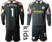 Wholesale Cheap Manchester City #1 C.Bravo Black Goalkeeper Long Sleeves Kid Soccer Club Jersey