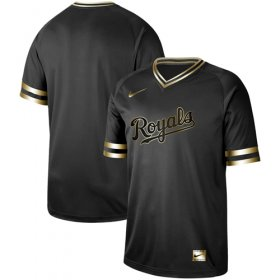 Wholesale Cheap Nike Royals Blank Black Gold Authentic Stitched MLB Jersey