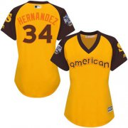 Wholesale Cheap Mariners #34 Felix Hernandez Gold 2016 All-Star American League Women's Stitched MLB Jersey