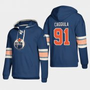 Wholesale Cheap Edmonton Oilers #91 Drake Caggiula Royal adidas Lace-Up Pullover Hoodie