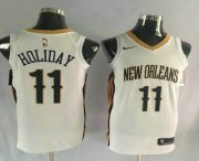 Wholesale Cheap Men's New Orleans Pelicans #11 Jrue Holiday New White 2017-2018 Nike Swingman Stitched NBA Jersey