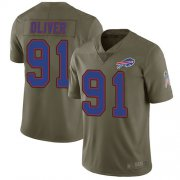 Wholesale Cheap Nike Bills #91 Ed Oliver Olive Men's Stitched NFL Limited 2017 Salute To Service Jersey