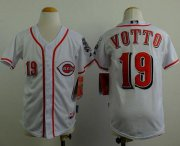Wholesale Reds #19 Joey Votto White Cool Base Stitched Youth Baseball Jersey