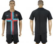 Wholesale Cheap Portugal Blank Black Training Soccer Country Jersey