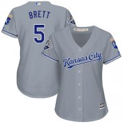 Wholesale Cheap Royals #5 George Brett Grey Road Women's Stitched MLB Jersey