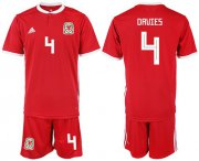 Wholesale Cheap Wales #4 Davies Red Home Soccer Club Jersey