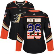 Wholesale Cheap Adidas Ducks #26 Brandon Montour Black Home Authentic USA Flag Women's Stitched NHL Jersey