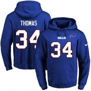 Wholesale Cheap Nike Bills #34 Thurman Thomas Royal Blue Name & Number Pullover NFL Hoodie