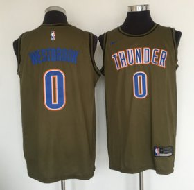 Wholesale Cheap Oklahoma City Thunder #0 Russell Westbrook Olive Nike Swingman Jersey