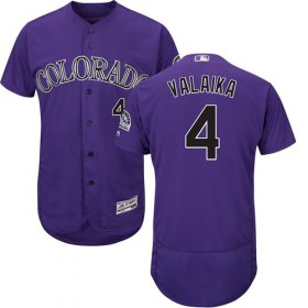 Wholesale Cheap Rockies #4 Pat Valaika Purple Flexbase Authentic Collection Stitched MLB Jersey