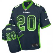 Wholesale Cheap Nike Seahawks #20 Rashaad Penny Steel Blue Team Color Men's Stitched NFL Elite Drift Fashion Jersey