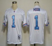Wholesale Cheap Mitchell And Ness Oilers #1 Warren Moon White Stitched Throwback NFL Jersey