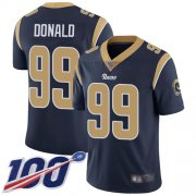 Wholesale Cheap Nike Rams #99 Aaron Donald Navy Blue Team Color Men's Stitched NFL 100th Season Vapor Limited Jersey