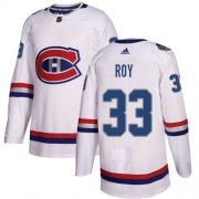 Wholesale Cheap Adidas Canadiens #33 Patrick Roy White Authentic 2017 100 Classic Stitched Youth NHL Jersey