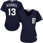 Wholesale Cheap Tigers #13 Omar Vizquel Navy Blue Alternate Women's Stitched MLB Jersey