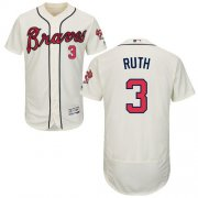 Wholesale Cheap Braves #3 Babe Ruth Cream Flexbase Authentic Collection Stitched MLB Jersey